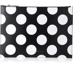 Victoria Beckham Polka Dots Large Simple Pouch ($405) ❤ liked on Polyvore featuring bags, handbags, clutches, victoria beckham handbags, 100 leather handbags, pouch purse, genuine leather purse and polka dot handbags