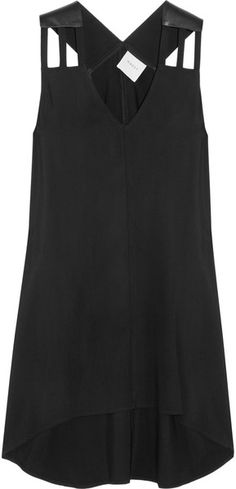 MASON BY MICHELLE MASON Leather and Twill Dress