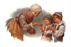 Their stepmother giving 'Hansel and Gretel' meager portions of bread -- illustrated by Scott Gustafson