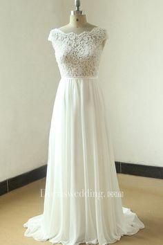 Ivory A Line Chiffon Sheer Lace Wedding With Scallop Back Dress - Dorris Wedding