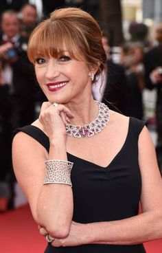 Cannes 2015: Jane Seymour is wearing a diamond and ruby necklace, and diamond earrings, ring and bangle by Avakian High Jewellery at the premiere of Mad Max: Fury Road in Cannes.