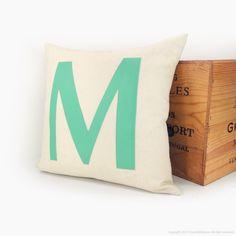 Monogram pillow - Alphabet letters - Mint green letter M applique on cream canvas - 16x16 decorative throw pillow cover. $40.00, via Etsy.