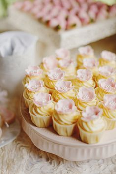 Cupcakes topped with pink flowers // Rustic Luxe Wedding at Enderong Resort, Malaysia: Jason + Kim