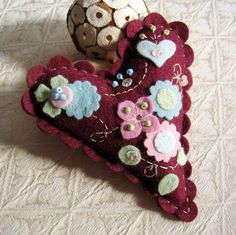 Wool Felt Heart Pincushion