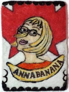 Needle felted postcard celebrating Artist Anna Banana Fooling Around, Anna Banana, 45 Years, Felt Art, Bananas, Needle Felting, Tigger, Disney Characters, Fictional Characters