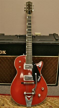 """Gretsch Duo-Jet, """"FilterTron"""" p.'s, """"thumb-print"""" fret-board inlays, w/ Bigsby trem-unit, cherry finish. Even / Alot better. w/ a Vox amp. Guitar Tabs, Cool Guitar, Gretsch Jet, Beautiful Guitars, Guitar Strings, Guitar Design, Vintage Guitars, Playing Guitar, Music Stuff"""