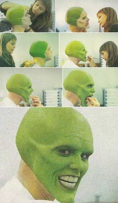 #TheMask1994  Jim Carrey(Stanley)  Jim Carrey in the makeup chair on the set of The Mask.