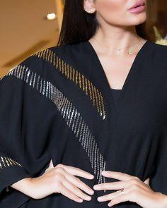 Diy Bead Embroidery, Pearl Embroidery, Hand Work Embroidery, Embroidery Fashion, Silk Kurti Designs, Abaya Designs, Mode Abaya, Mode Hijab, Islamic Fashion