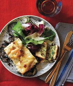 Mushroom and Spinach Lasagna with Tricolore Salad With Parmesan and Garlic Bread