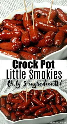 Try this easy BBQ Little Smokies Crock Pot Recipe with the best little smokies sauce! This is the best of lil smokies recipes. BBQ Little Smokies Crock Pot Recipe - You have to try these simple crock Bbq Little Smokies, Crockpot Little Smokies, Little Smokies Recipes, Little Weenies Recipe, Smokies Bbq, Little Smokies Recipe With Grape Jelly, Best Lil Smokies Recipe, Quick And Easy Appetizers, Appetizers For Party