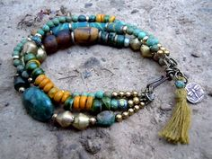 Trade Beads and Turquoise / Bohemian Bracelet / Gypsy Jewelry / Ethnic Bracelet / Handmade Trade Beads. $49.00, via Etsy.
