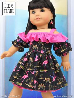 """Perfect for those bold prints, like this tropical flamingo / tiki-inspired calico! Introducing the Lee & Pearl 2016 FREE Pattern for mailing list subscribers — #1035: Olá Brasil! Samba Top, Bahia Dress, Afro-Brazilian Baiana Headwrap and Jewelry Tutorials for 18"""" Dolls, inspired by American Girl® 2016 Girl of the Year® Lea Clark®, and by the fashions, traditions and music of Brazil. To get your FREE copy, join our mailing list at http://www.leeandpearl.com before the end of January, 2017."""