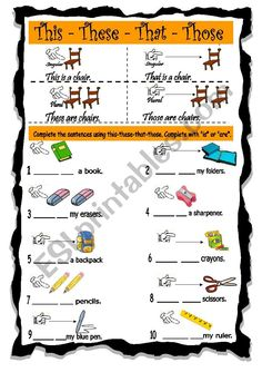 Students look at the example and complete with This,That,These or Those and English Phonics, English Worksheets For Kids, Learn English Grammar, English Writing Skills, English Language Learning, English Lessons, Teaching English, Free Printable Alphabet Worksheets, 1st Grade Math Worksheets
