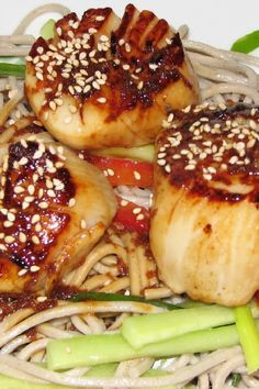 Miso Scallops with Soba Noodles