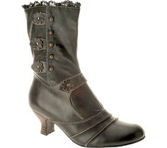 CLEARANCE Spring Step Womens Savvy Retro 20s Style Boots Black Leather Savvy B   eBay