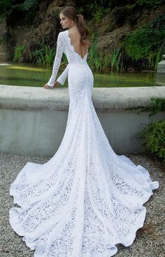 Long Sleeves Wedding Dresses 2016 Full Lace Mermaid Wedding Gowns Bateau Neckline Deep V Backless Chapel Train Bridal Gowns Ruched Mermaid Wedding Dress Unique Mermaid Wedding Dresses From Gonewithwind, $150.76| Dhgate.Com