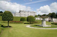 Palladian Mansion, Powerscourt House under stunning blue skies. Powerscourt Gardens in Ireland. www.powerscourt.ie