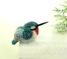 I admire beadwork.......  Hummingbird Miniature Figurine Beaded Animal Totem by MeredithDada, $42.00