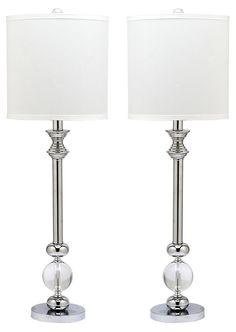 Erica Table Lamp Set, Crystal/Chrome   See the Light   One Kings Lane