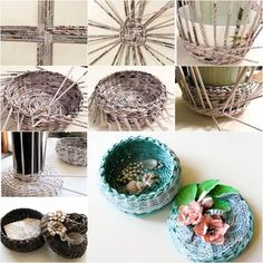DIY Covered Woven Basket from Newspaper - http://ohsolovelyblog.me/diy-covered-woven-basket-from-newspaper/