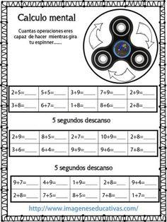 Fichas para el cálculo mental, aprovecha los spinners - Imagenes Educativas