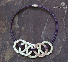 Hammered Metal Circle Link Leather Necklace bold necklace