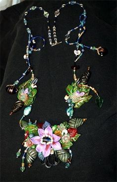 Floral Fantasy art necklace polymer clay, beads, bits & pieces of things, can be worn or displayed (comes mounted in a shadow box) Art Necklaces, Piece Of Me, Clay Beads, Chainmaille, Shadow Box, Fantasy Art, Polymer Clay, Jewlery, Art Pieces