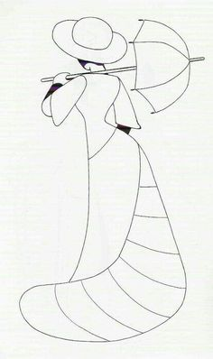 Classy lady with umbrella Applique Templates, Applique Patterns, Applique Quilts, Applique Designs, Quilt Patterns, Sewing Patterns, Quilting Projects, Quilting Designs, Sewing Projects