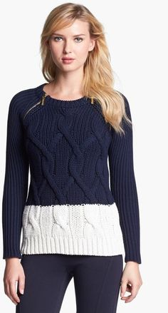Michael by Michael Kors Zip Shoulder Colorblock Cable Sweater