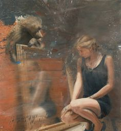 """Saatchi Art Artist Nicola Pucci; Painting, """"Woman in the mirror with Baboon"""" #art"""