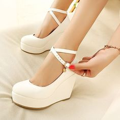 2014 Fashion Ivory Mary Jane White Wedge Shoes Black Sexy Ankle Strap Platform Pumps Cute High Heels Free Shipping US $27.29