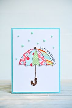 Appliqué Umbrella Card #Handmade Card #Rain Themed Card #Use of Fabric #Card Inspirations