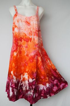 Tie Dye Rayon Sun dress Ice Dye  Size Large  by ASPOONFULOFCOLORS                                                                                                                                                                                 More