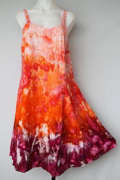 Tie Dye Rayon Sun dress Ice Dye Size Large by ASPOONFULOFCOLORS More