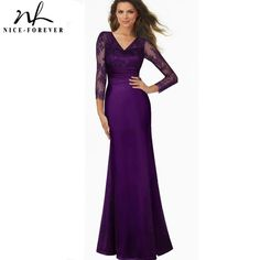 e5f920ed7922b US $26.59 5% OFF|Nice forever Vintage Grace Sexy Deep Back Lace V Neck  Grand Women Sleeve Celebrity Bodycon Maxi Long Gauze Mermaid Dress A019-in  Dresses ...