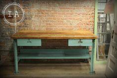 Vintage Industrial Butcher Block Steel Work Bench Desk Kitchen Island