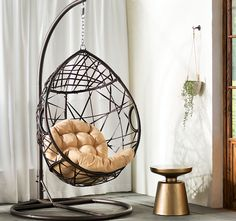 Bungalow Rose Auxerre Tear Drop Swinging Chair with Cushion and Stand Egg Swing Chair, Hanging Swing Chair, Hammock Chair, Hammock Stand, Diy Chair, Swinging Chair, Chair Cushions, Swing Chairs, Hanging Chairs