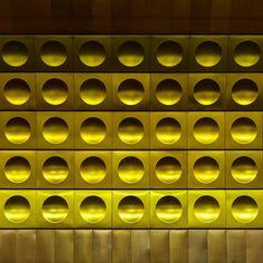 Mustek Station #prague #circles #spheres #impressions #tiling #cladding #pattern #shapes #yellow #gold #praha #stations #metro #underground #architecture #travel #transport #czechrepublic