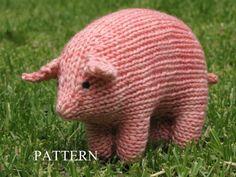 Pig Knitting Pattern Waldorf Toy PDF Medium Size by mamma4earth