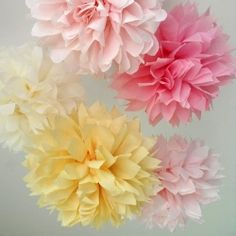 Beautiful Paper Pom Poms -Add a pop of Spring color to upcoming Parties and Events with this easy... DIY decor idea!