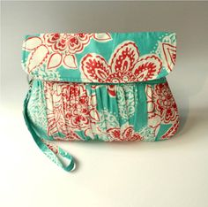 Pleated Wristlet With Flap and Detachable Strap in Aqua by Oyeta