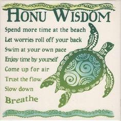 """Honu Wisdom 6"""" Hand Painted Ceramic Tile"""