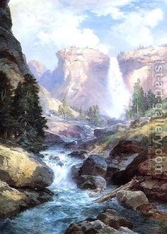 Thomas Moran Waterfall in Yosemite painting for sale - Thomas Moran Waterfall in Yosemite is handmade art reproduction; You can shop Thomas Moran Waterfall in Yosemite painting on canvas or frame. Thomas Moran, Art Thomas, Landscape Art, Landscape Paintings, Landscapes, Fall Paintings, Landscape Drawings, Contemporary Landscape, Landscape Design