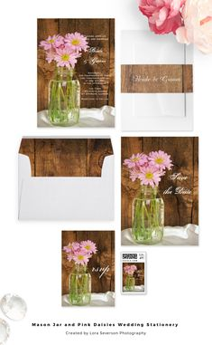 Pair these charming Mason Jar and Pink Daisies Country Wedding Stationery Products with the matching invitations to create a coordinated marriage set. Customize these rustic chic postage stamps, save the dates, thank you notes and RSVP cards to suit your nuptial needs. These casual yet classy custom ranch style wedding paper products feature a glass canning jar filled with a bouquet of pink daisy flower blossoms and a brown barn wood background. #masonjarwedding #barnwedding