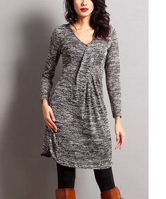 Look what I found on #zulily! Charcoal Mélange V-Neck Dress #zulilyfinds