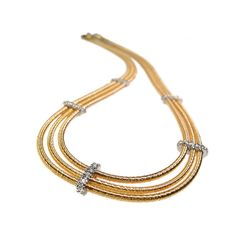 14K-Y Cocoon Neck. 0.45Ct. By I. Reiss 14 Karat Yellow Gold Multi-Strand Cocoon Necklace, With 0.45 Carat Of Pave Set Diamonds