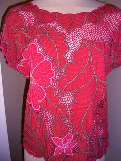 pink flowers + red [Bali cutwork shirt]