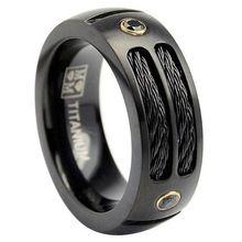 Pesado de la nueva joyería del acero inoxidable anillo anillo pulido en negro hombres mejor regalo de inserción de alambre de acero diseño único talla 7 8 9 10 11(China (Mainland))
