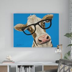 Wrought Studio 'Cow Glasses Blue' Acrylic Painting Print on Wrapped Canvas Size: H x W D Cow Painting, Painting Prints, Watercolor Paintings, Canvas Paintings, Cow Canvas, Canvas Size, Canvas Fabric, Cow Decor, Wall Decor