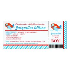 Airplane Ticket Baby Shower Party Invitation